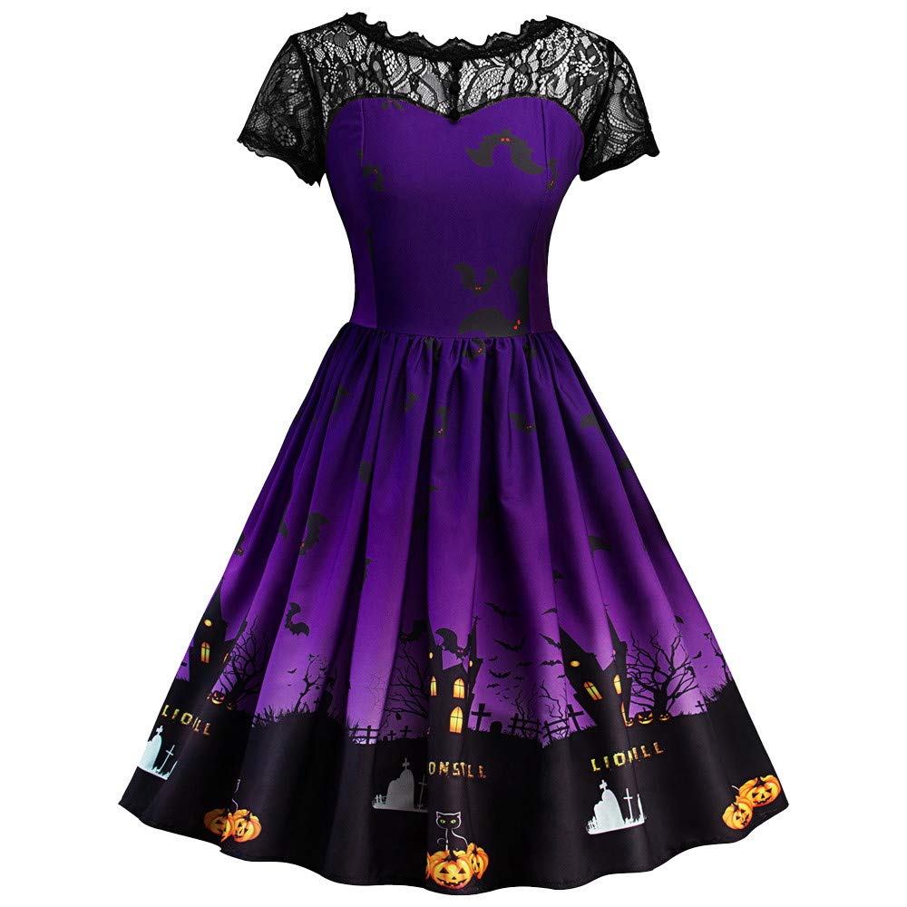 Halloween Dress for Women Vovotrade Retro Lace Dress A Line Pumpkin Print Dress Short Sleeve Patchwork Dress Swing Dress Elegant Cocktail Dress Halloween Party Cosplay Costume
