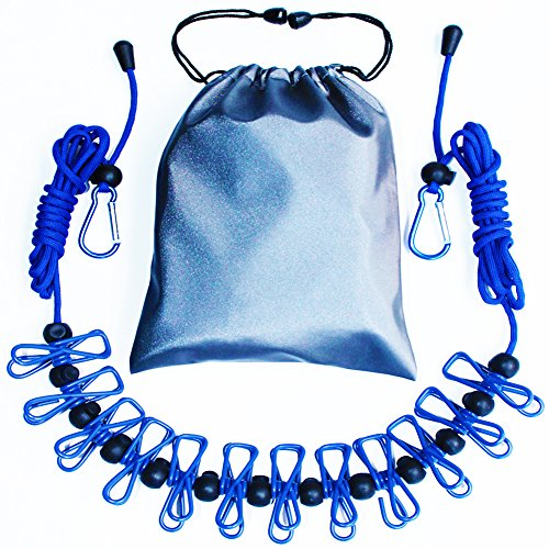 m/13ft Portable Retractable Adjustable Clothes Line Rope with 1 Waterproof Bag, 12 Clothespins, 13 Anti-skid Clips for Outdoor and Indoor(Blue) (Travel Laundry Line)