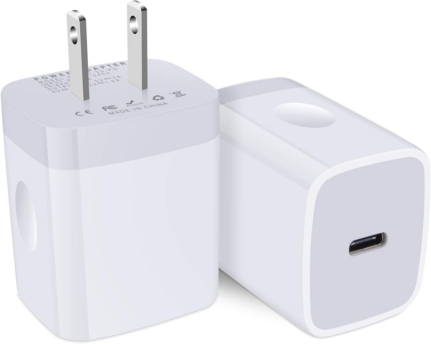 iPhone 12 Charger Cube Fast Charging, Power Delivery 20W USB C Charger Wall Plug Adapter PD 3.0 Type C Fast Charging Block 2-Pack Compatible iPhone SE 2020/12 Mini/11 Pro Max,Samsung S21 S20 Plus