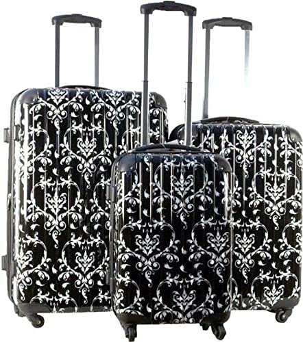 3pc Luggage Set Suitcase Hard Rolling 4 Wheels Spinner Upright Travel Lightweight Damask