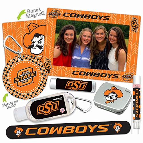 Oklahoma State Cowboys—DELUXE Variety Set (Nail File, Mint Tin, Mini Mirror, Magnet Frame, Lip Shimmer, Lip Balm, Sanitizer). NCAA gifts, stocking stuffers. Only from Worthy.