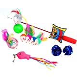 Cat Toys 10 Pieces Including Cat Teaser Wand Interactive Feather Toy Fluffy Mouse Mylar Crinkle Balls Catnip Pillow for Kitten Kitty