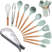 12Pcs Kitchen Utensil Set, Multi-Function Jar Opener + 11Pcs Silicone Cooking Tools, Premium Wood Handles, Non Stick, Best Chef Gift by XUNATA