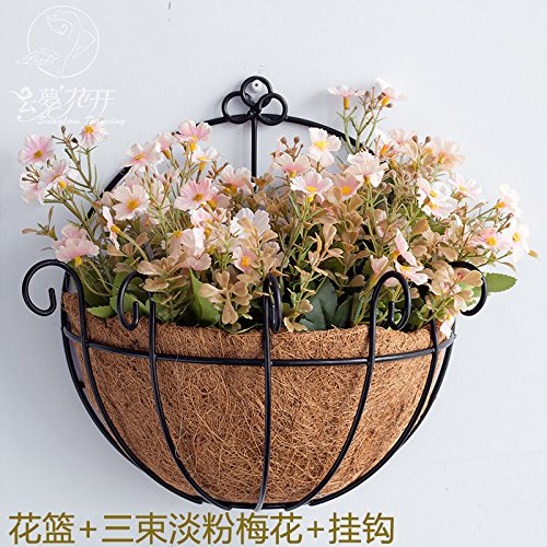 Ghaif The living room wall iron flower basket is a red head decorative wall-mounted pots emulation flower beauty salon wall hanging plants, flowers + 3 Harness Flamingo Pink Plum Blossom ()