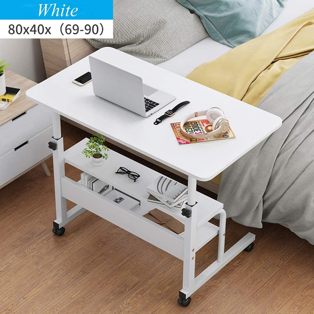 ZPEE Rolling Stand Tabletop Desk,moveable Laptop Pc Table with Wheels Shelves,Height Adjustable Waterproof Large Computer Workstation White A 80x40cm(31x16inch)
