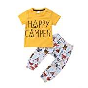 Baby Boy Short Sleeve Happy Camper T-Shirt Top + Cartoon Animal Pants (0-6 M, Yellow)