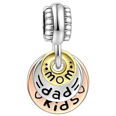 927d2e231f5c SOUFEEL シルバー 925 ブレスレット チャーム 14K金 ピンクゴールドメッキ 両親と子供 ペンダント レディース人気