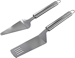 Stainless Steel Pie Server Set - Serrated Spatula and Cake Cutter with Elegant Ergonomic Handles for Cutting and Serving Desserts, Brownies, Lasagna