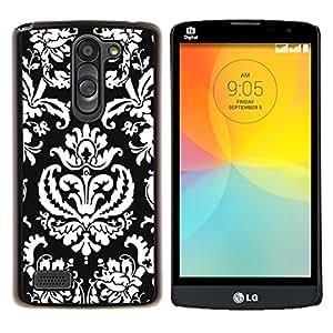 "Be-Star Único Patrón Plástico Duro Fundas Cover Cubre Hard Case Cover Para LG L Prime / L Prime Dual Chip D337 ( Modelo del papel pintado Arte Negro Blanco Royal"" )"