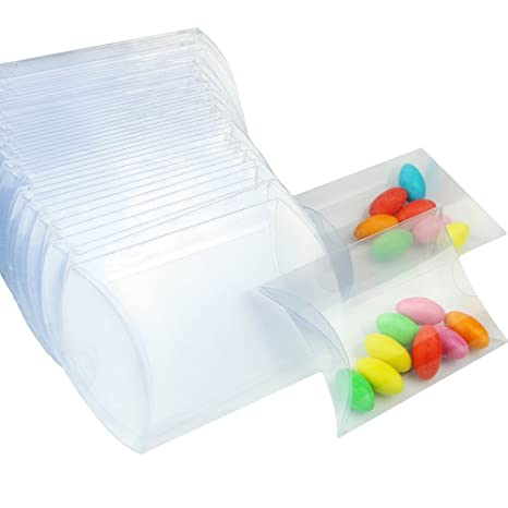 50 piezas Cajas de regalo para bodas dulces para tartas transparente PVC cubo bolsas regalo