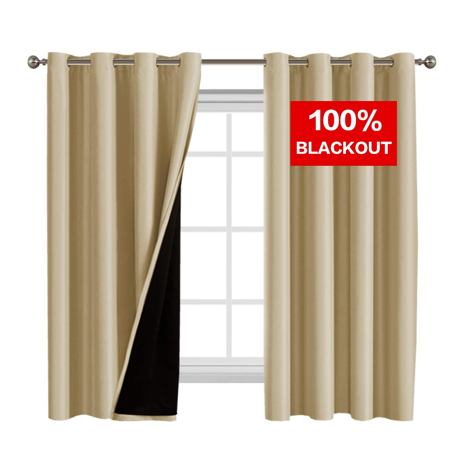 Flamingo P Full Blackout Wheat Curtains Faux Silk Satin with Black Liner Thermal Insulated Window Treatment Panels, Grommet Top (52 x 63 Inch, Set of 2)