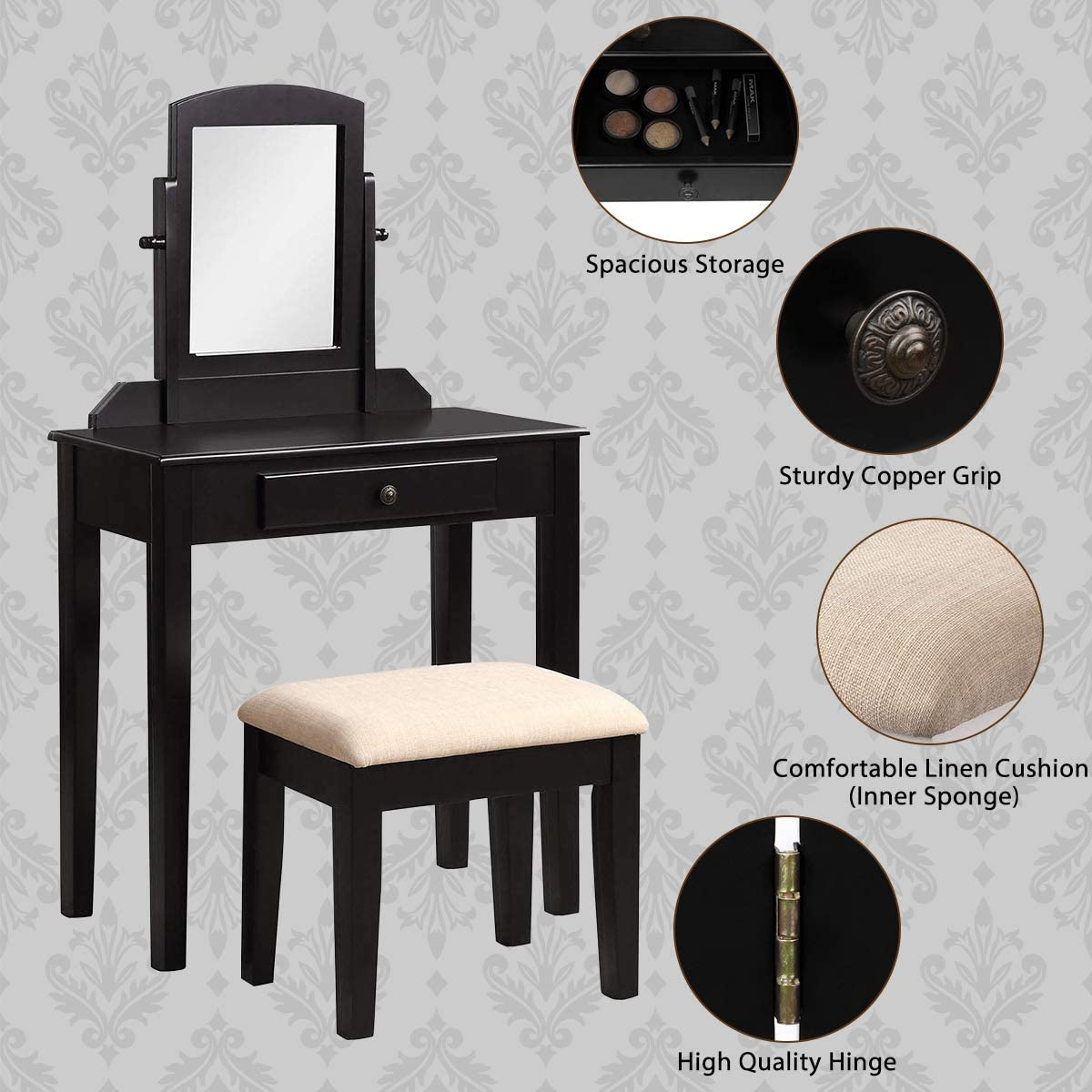 Harper Bright Designs Vanity Set with Mirror and Cushioned Stool Wooden Vanity Table Makeup Dressing Table with 1 Drawer Black