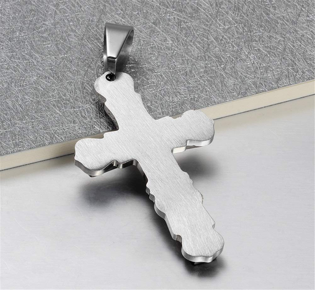 Color : Silver, Size : Free Size Crystal Stainless Steel Mens Scripture Cross Pendant Stainless Steel Titanium Steel Necklace with Chain Urn Necklaces for Ashes