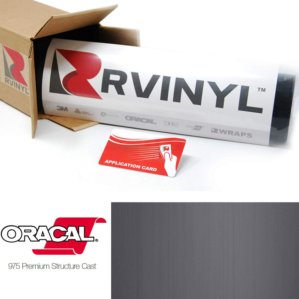 ORACAL 975 Brushed Aluminum Graphite 932-BA Wrapping Structure Cast Film Vehicle Car Wrap Vinyl Sheet Roll 1ft x 5ft w//App Card