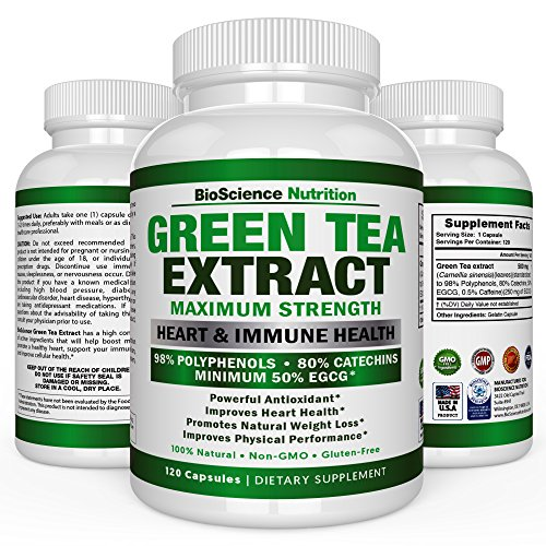 Green Tea Extract Capsules with EGCG as Fat Burner for Weight Loss - 120 Pills - Natural Caffeine Source for Energy - Antioxidant and Free Radical Scavenger - BioScience Nutrition USA
