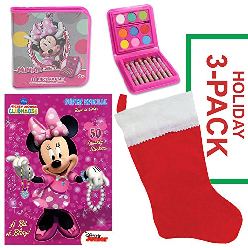 Minnie Mouse Christmas Stocking Stuffer Bundle - Disney Minnie Mouse Mickey Mouse Daisy Duck 3 PACK - Christmas Gift for Children Ages (Daisy Duck Costume Children)