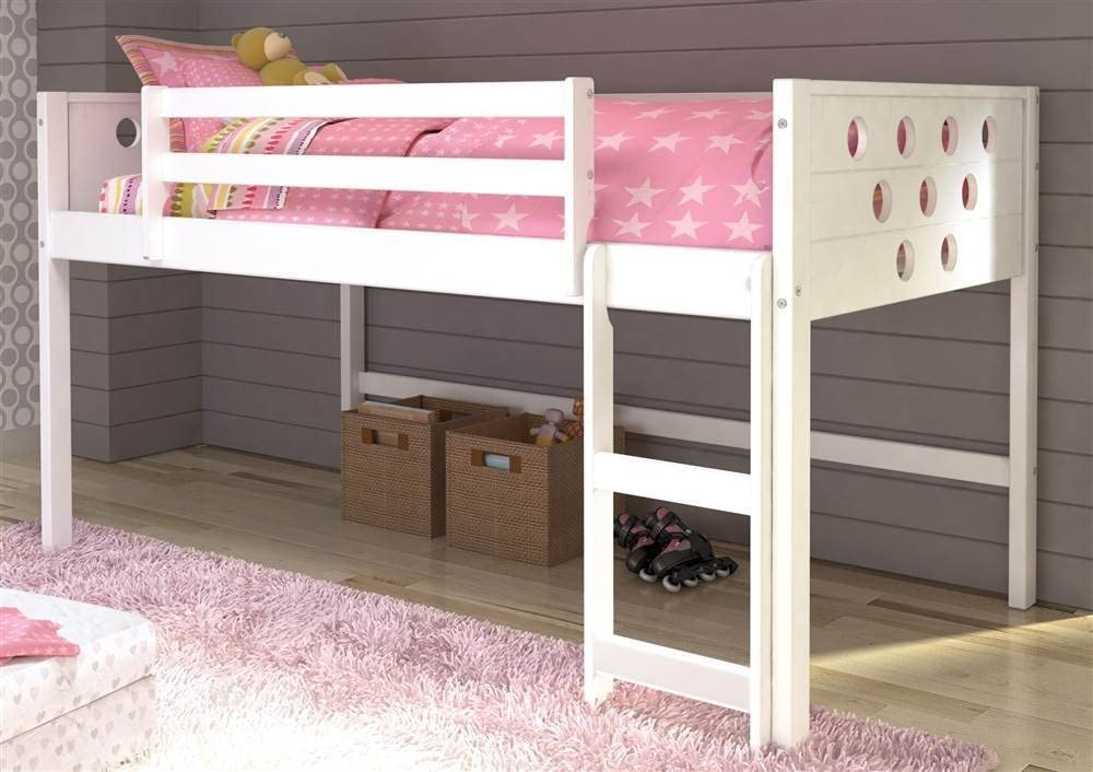 Donco Kids Twin Circles Low Loft Bed in White