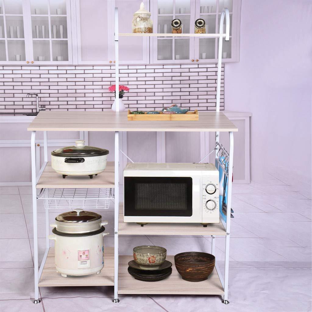 Sodoop 35.5'' Microwave Rack Storage Shelf 4-Tier+3-Tier, Oven Floor Shelf Storage Cupboard,Multifunctional Kitchen Baker's Rack Utility for Spice Rack Organizer Workstation (White)