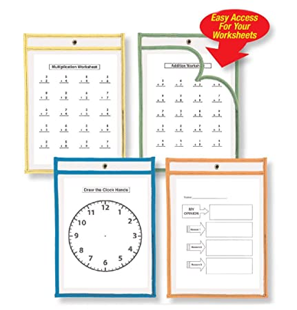 Amazon.com : Charles Leonard Reusable, Dry Erase Pocket Class Pack ...