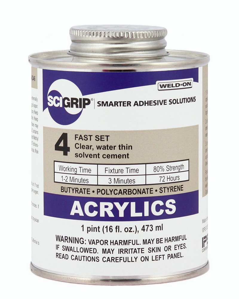 SCIGRIP 4 Acrylic Solvent Cement, Water-thin, 1 Pint Can with ...