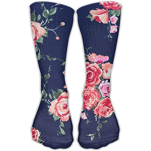 2c20a35f0 Image Unavailable. Image not available for. Color  Snabeats Rose Navy Floral  Personalized Socks Sport Athletic Stockings 60cm Long Sock Knee ...
