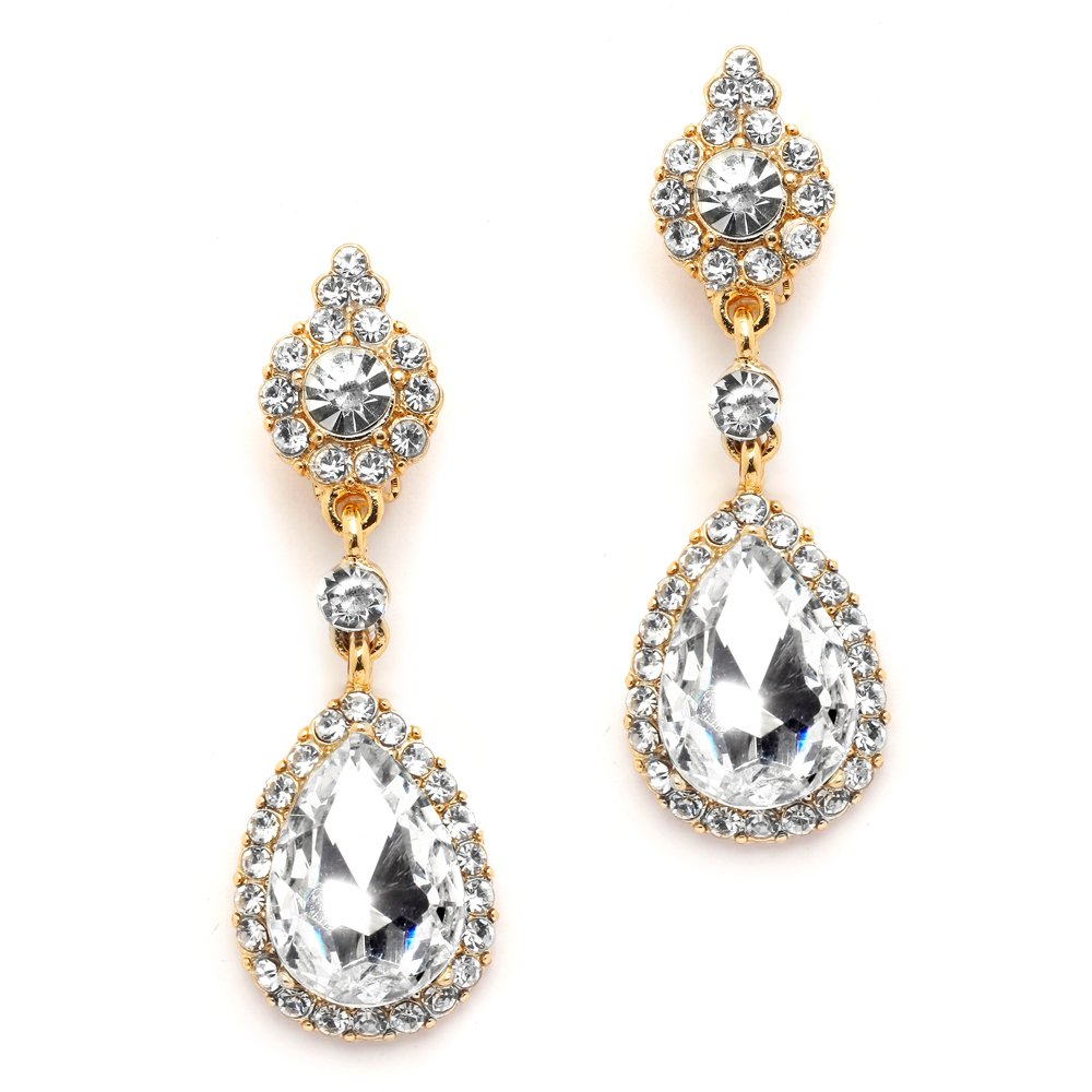 Mariell Gold Clip-On Earrings with Austrian Crystal Teardrop Dangles - Prom & Bridal Chandelier Clip Ons