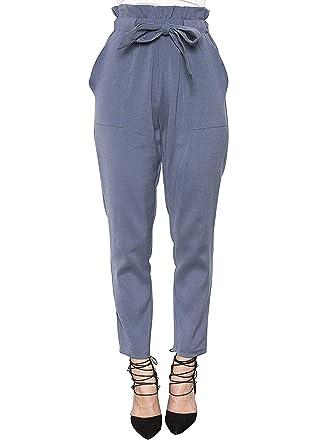 dc22dbf357b03 Minetom Femme Casual Slim Crayon Pantalons en Mousseline avec Cordon Taille  Haute Décontracté de Voyage Bleu