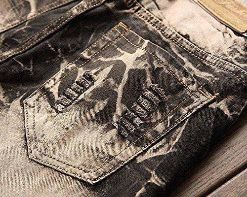 Hip Pantaloni Foro Jeans Del Retro Hop Leggings Strappati Mendicante Uomo Giallo ZwY1UOq1