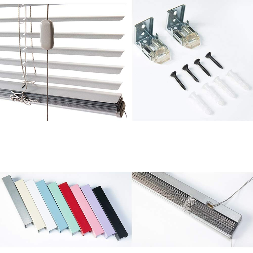 YJFENG Aluminum Venetian Blinds Slats Curtains,Waterproof Rotary Stick Control Nylon Rope Ladder Metal Track Wear Resistant Hotel Bay Window,Custom Color : White, Size : 50x150cm