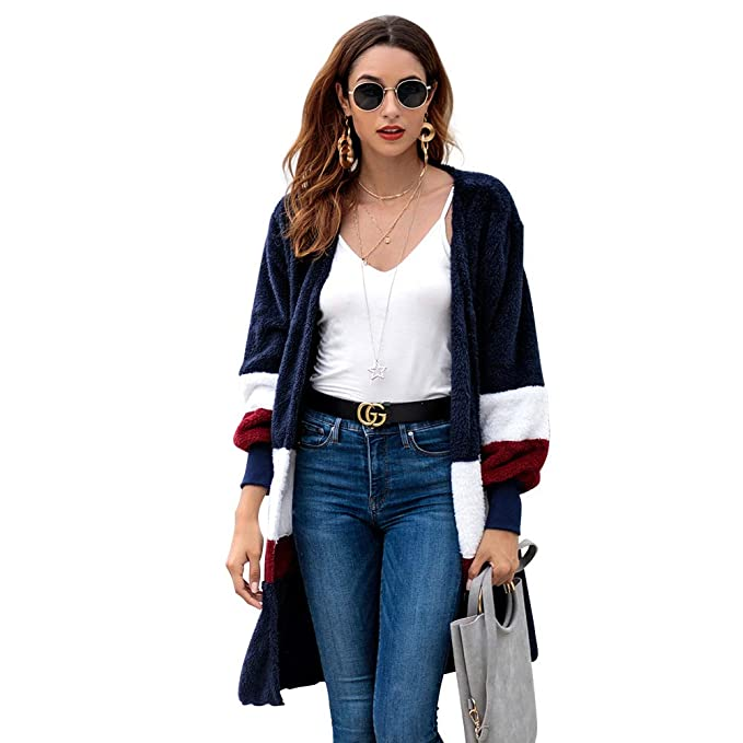 3df289c0ac4a2 Blostirno Plush Patchwork Long Cardigan Coat Winter Wool Jacket Long Sleeve  Loose Outerwear (Blue-