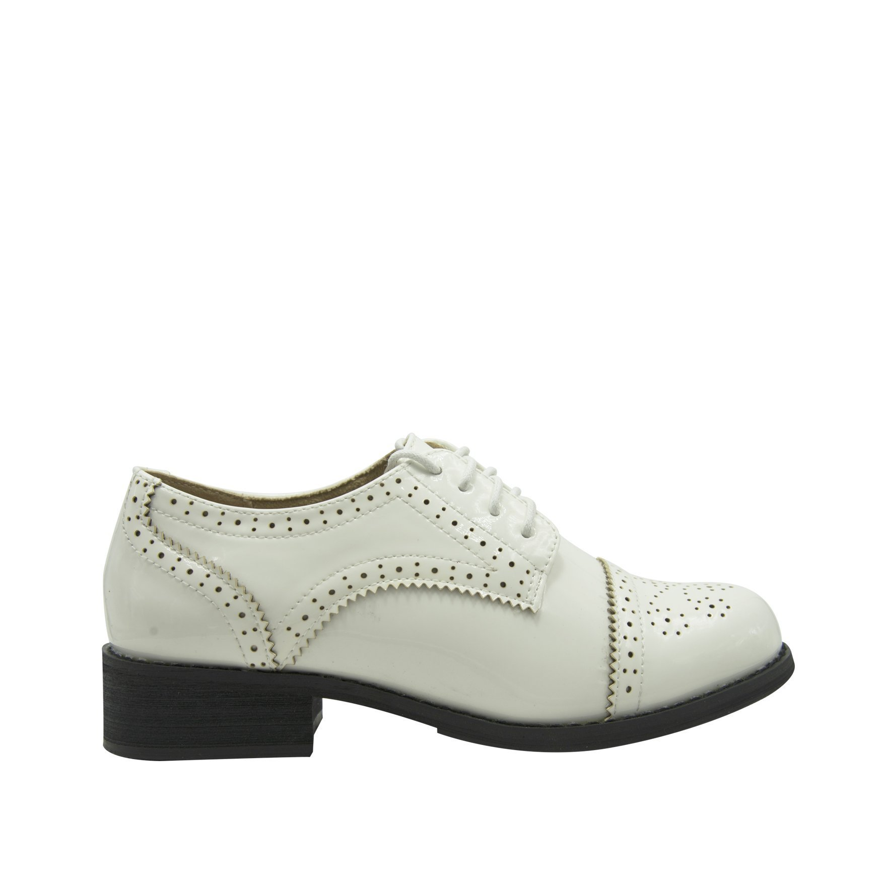 GottaBe Womens Perforated Lace-up White Leather Oxfords Shoes - Oxfords Shoes Women - Vintage Oxford Shoes(9) by GottaBe (Image #1)