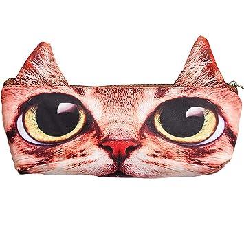 Wudi PC 1 Pluma adorables Gatos Maleta para bolígrafos o lápices/Cosmética / Piezas (Orange Cat): Amazon.es: Hogar