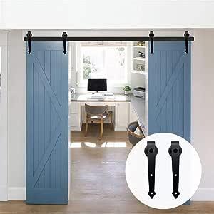 LWZH 14.5FT/442cm Herraje para Puerta Corredera Kit de Accesorios para Puertas Correderas Dobles,Negro A-Forma: Amazon.es: Bricolaje y herramientas