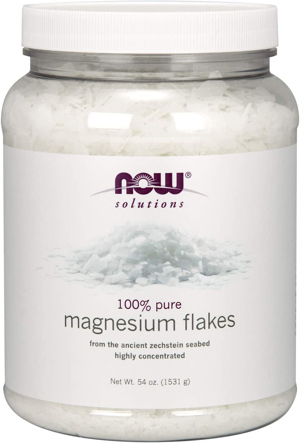 Now Solutions, Magnesium Flakes, 100% Pure, from The Ancient Zechstein Seabed, Highly Concentrated, 54-Ounce