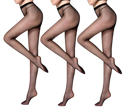 c56393ad2ef4a Women's Pantyhose Black Nude Control Top Sheer Tights Nylons Multipack - 3  Pack Black Size S