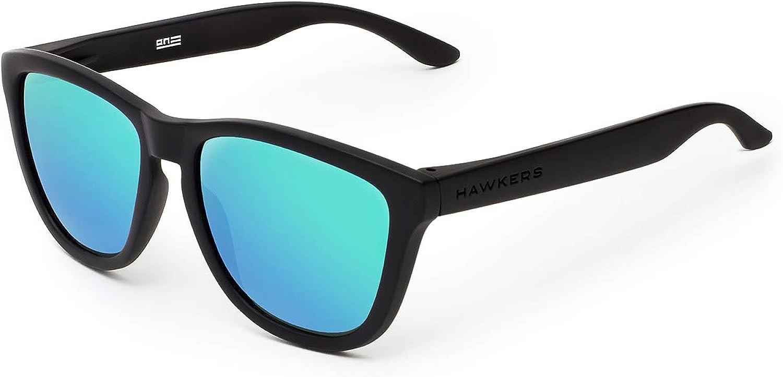 HAWKERS ONE Carbon Black Gafas de Sol Ligeras, para Hombre y Mujer, con Montura Negra Mate y Lente Esmeralda Efecto Espejo, Protección UV400