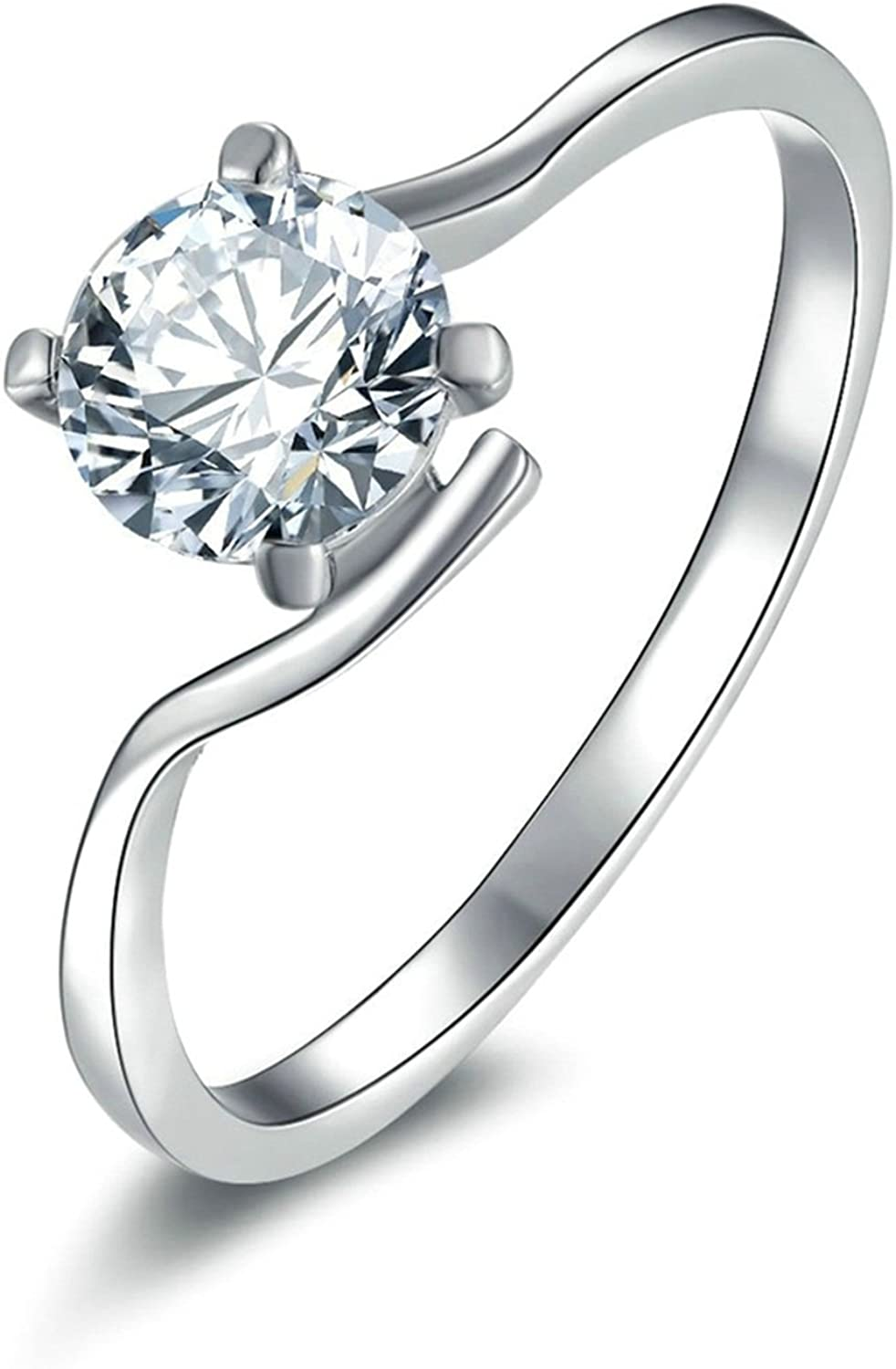 Aokarry Ladies Jewelry 925 Sterling Silver Personalized Rings for Women 4 Prong Setting Round Cubic Zirconia Size 5-12