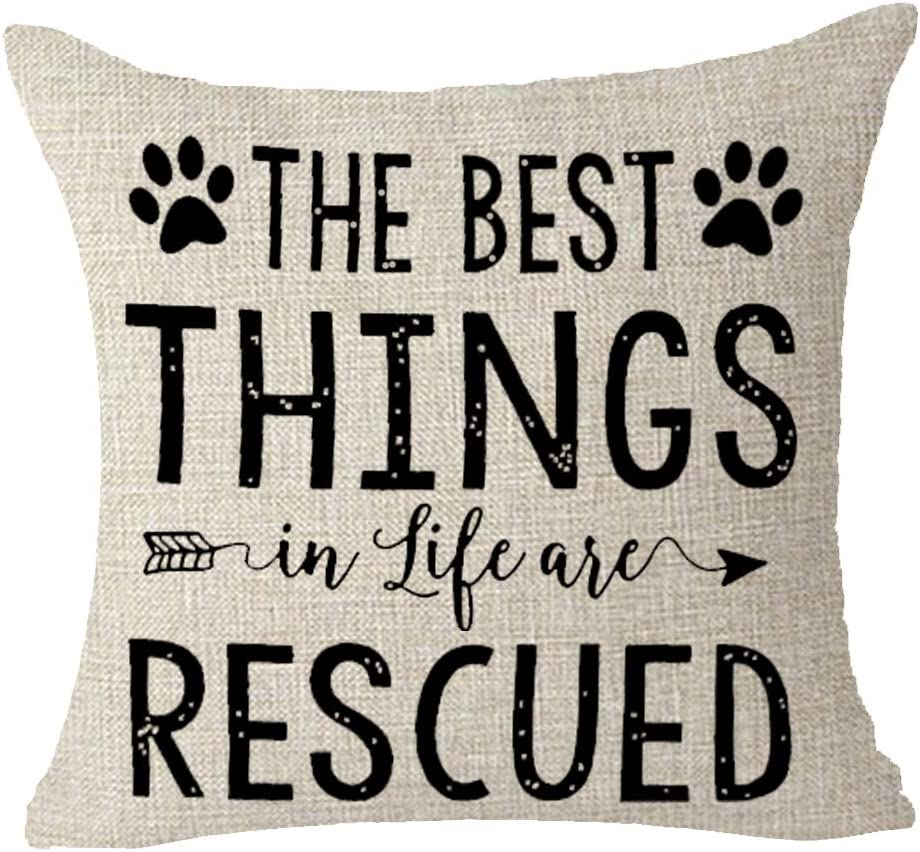 """Words The Best Things In Life Are Rescued Dog Paw Print Arrow Cotton Linen Decorative Throw Pillow Case Cushion Cover Square 18 """"X18 """""""