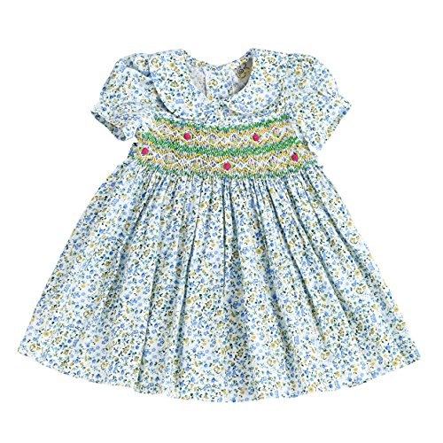Infant and Toddlers Soft Hand Smocked Dress | Laura Carrie Flowers in Aqua-Green 4T -