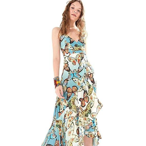f1af5b94f Vestido Primavera De Borboleta Est Primavera De Borboleta Azul Mineral - M
