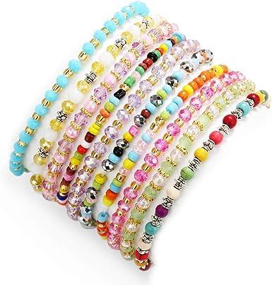 Amazon.com: PinkSheep Beads Bracelet for Kids, Girls Boho Bracelet,  Friendship Tiny Bracelet, 10 PC, Value Set: Clothing