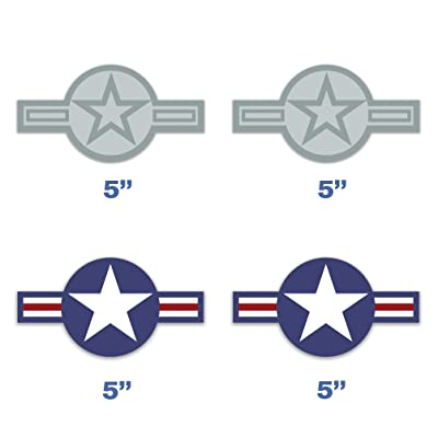 Set of 4 U.S. Air Force Roundel Sticker Shaped USAF Plane Star Decal Aircraft United State Army for Car Truck Bumper Vinyl 5 in: Clothing