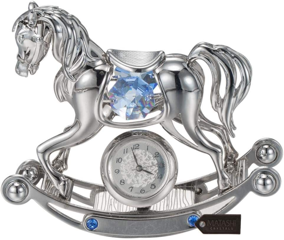 Matashi Chrome Plated Crystal Studded Silver Rocking Horse Desk Clock Ornament