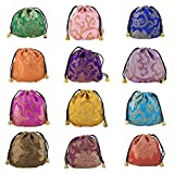Aspire 24 Pieces Silky Brocade Jewelry Pouches, Favor Bag Gift Bag Value Set-Assorted