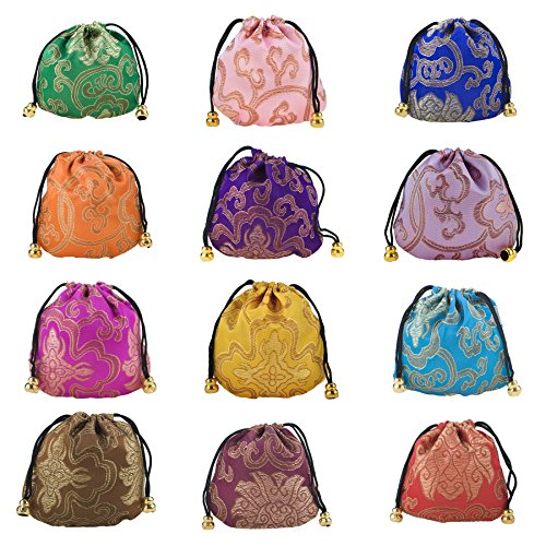 Aspire 24 Pieces Silky Brocade Jewelry Pouches, Favor Bag Gift Bag Value Set-Assorted by Aspire