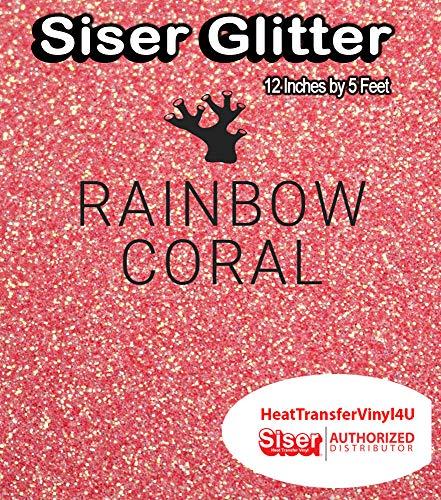Siser Glitter Iron On Heat Transfer Vinyl 12 Inches by 5 Feet (Rainbow -