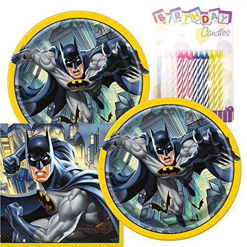Batman Theme Plates and Napkins Serves 16 With Birthday Candles -