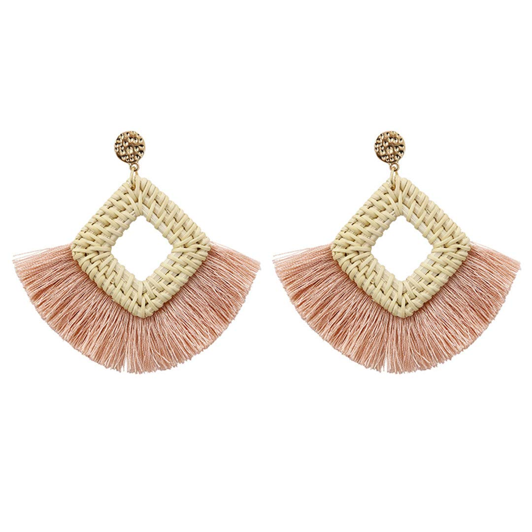 Handmade Geometry Square Straw Tassel Earrings Vintage Woven Rattan Hoop Fringe Drop Earring Jewelry