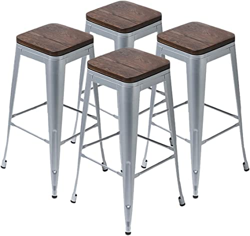 Yongqiang Metal Barstools Set of 4 Backless Counter Bar Stools Stackable Cafe Side Chairs