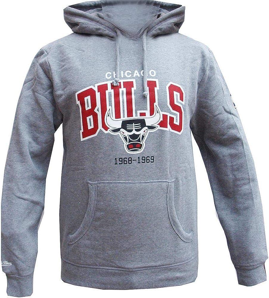 Mitchell /& Ness Chicago Bulls HWC Arch Logo Hoody Grey Hoodie Sweater Herren Mens